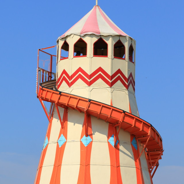 """Traditional helter skelter fairground ride"" stock image"