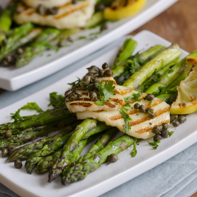 """Griddled Asparagus"" stock image"