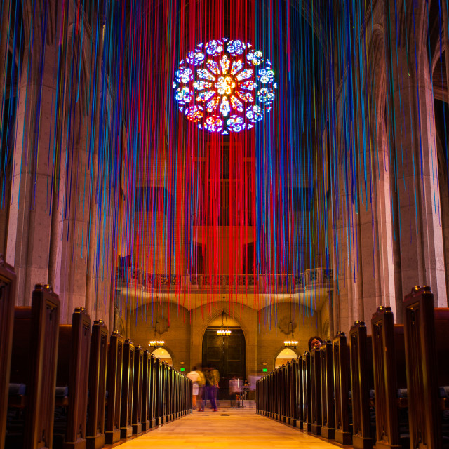 """Grace Cathedral Ribbon of Lights"" stock image"