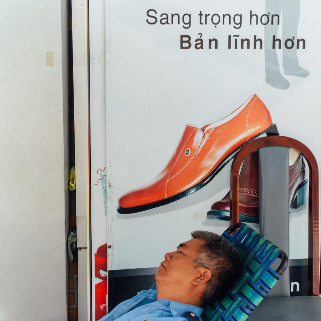 """Sleep on the street"" stock image"