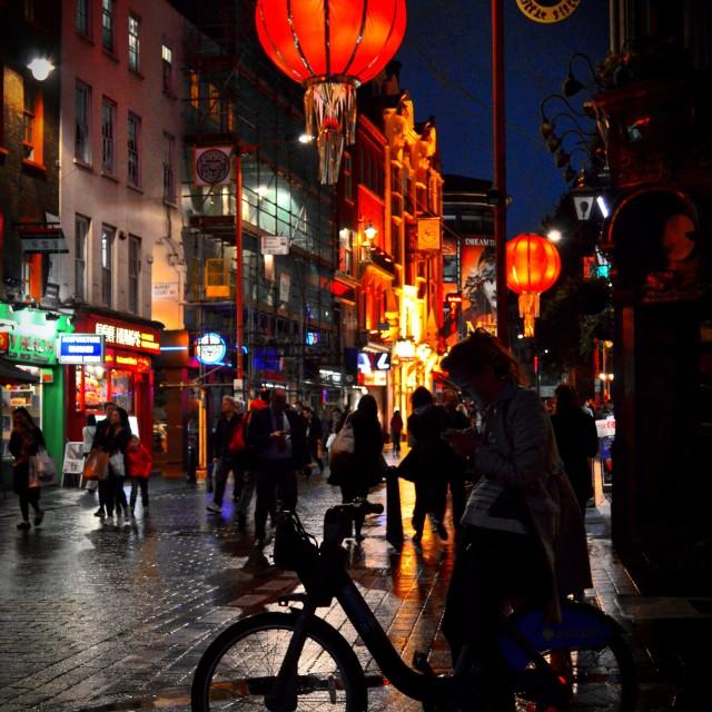"""Rainy Night in China Town"" stock image"
