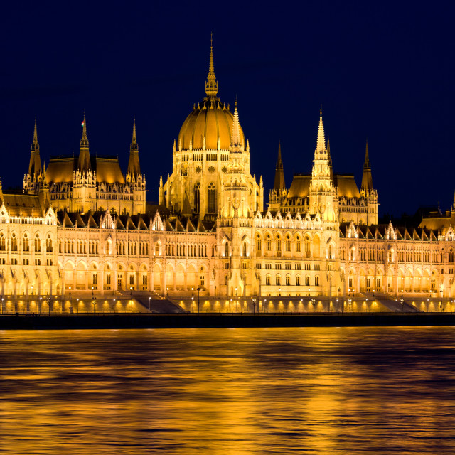 """Budapest Parliament at Night"" stock image"