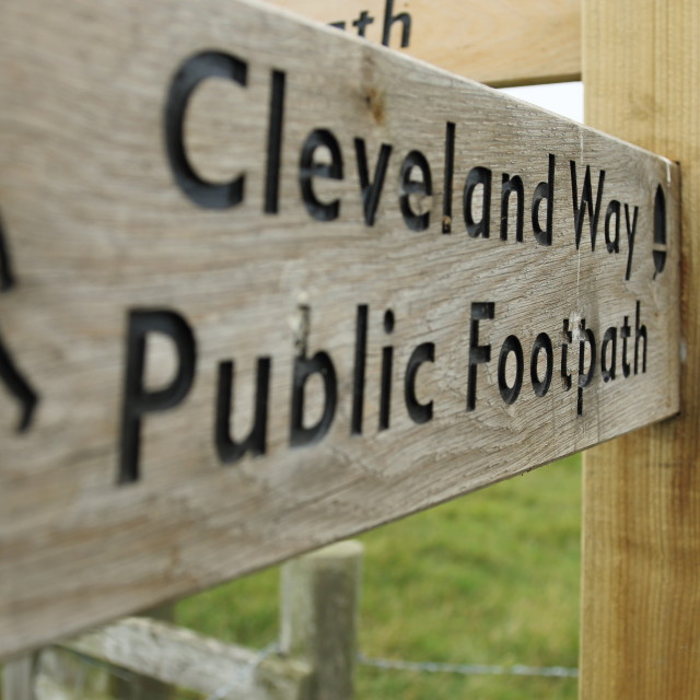 """Cleveland Way Wooden Direction Sign"" stock image"