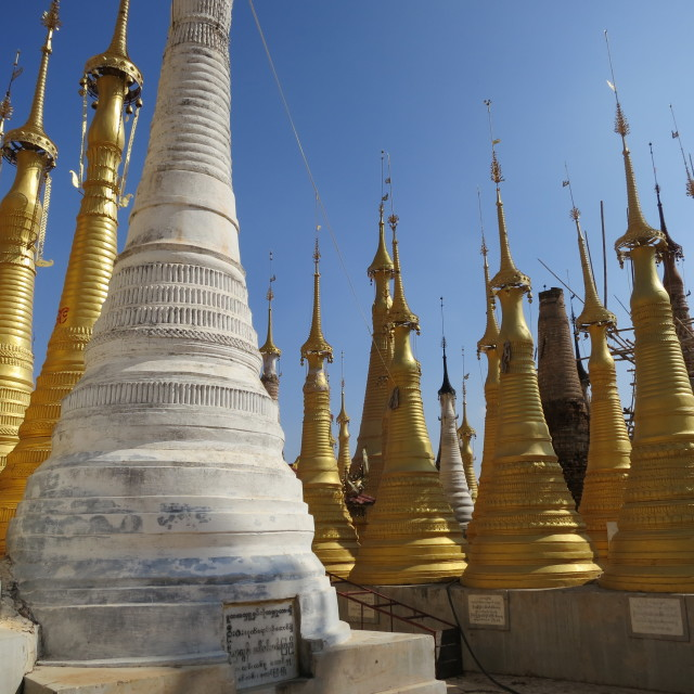"""Stupas in Burma"" stock image"