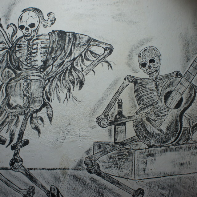 """Dancing skeletons mural"" stock image"