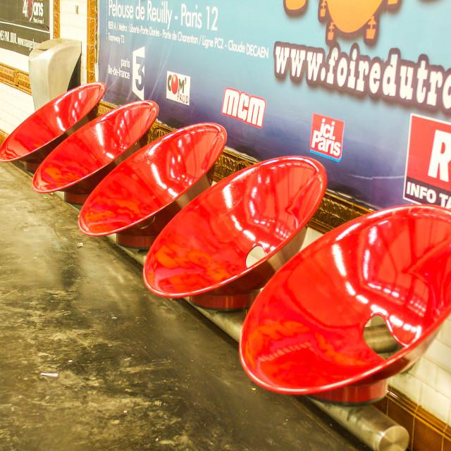 """Red Seats At Lamarck Metro in Paris"" stock image"