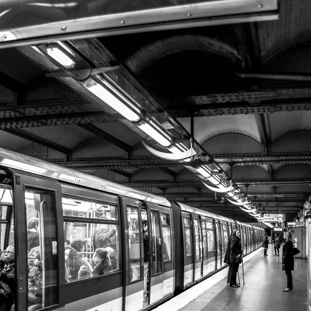 """""""Exiting The Metro Train in Paris"""" stock image"""