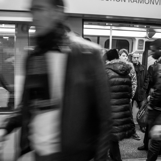 """Metro Passengers in Toulouse B&W"" stock image"