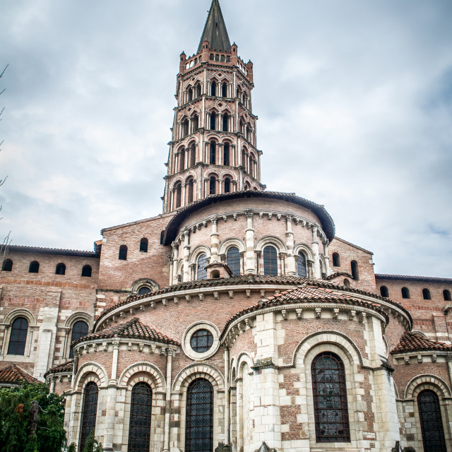 """Exterior of St. Sernin in Toulouse"" stock image"