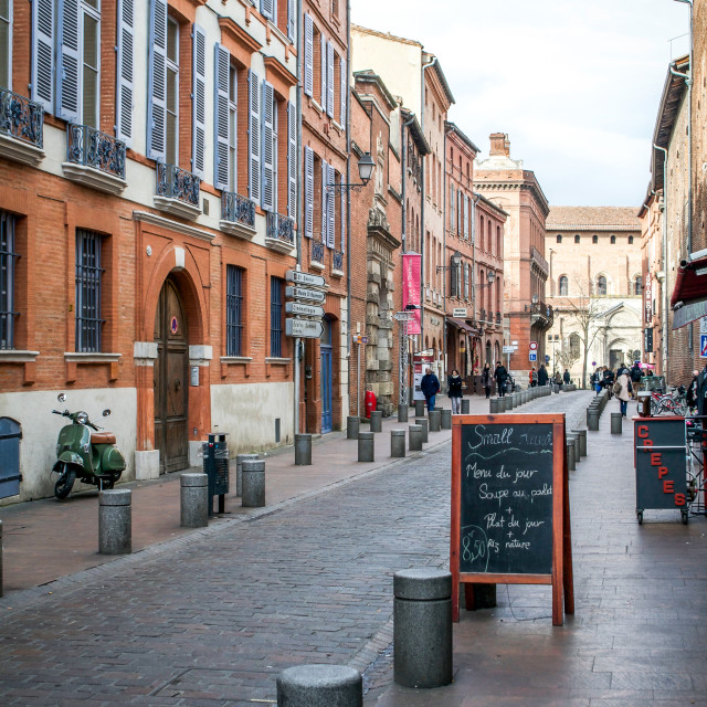 """Rue du Taur in Winter in Toulouse"" stock image"