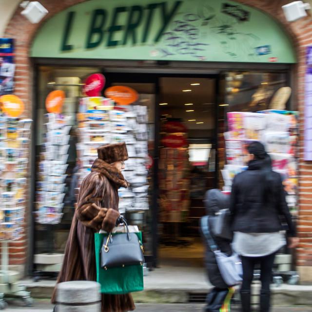 """Fur Coat Wearing Shopper Toulouse, France"" stock image"