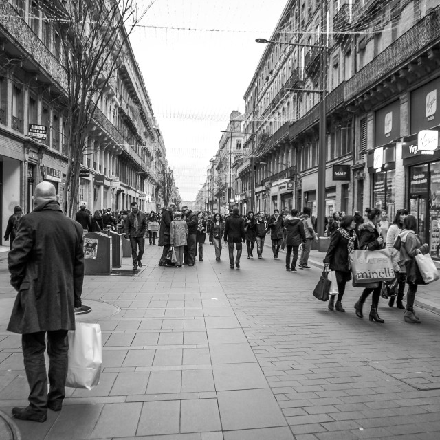 """Shopping On The Weekend in Toulouse, France B&W"" stock image"