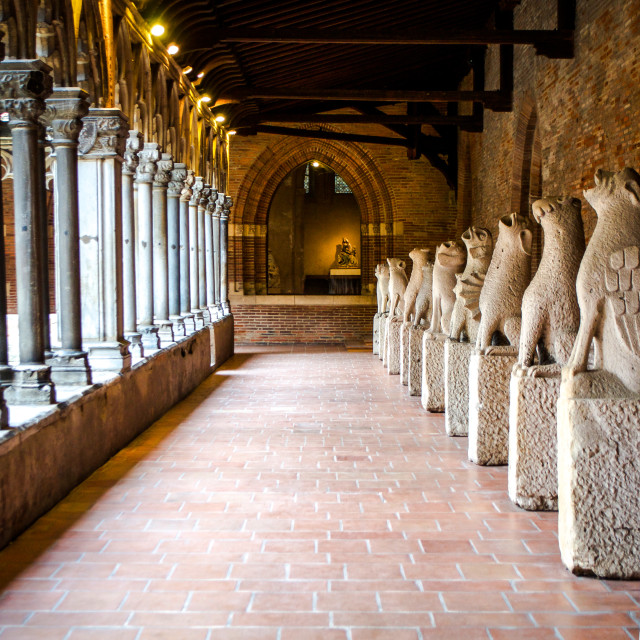 """Row Of Grounded Gargoyles at Musee des Augustins, Toulouse"" stock image"