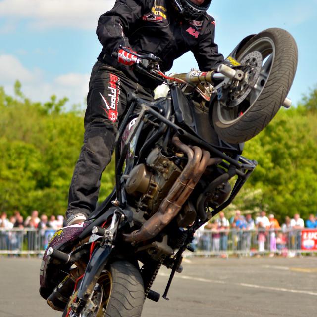 """Super Bike Stunt Rider"" stock image"