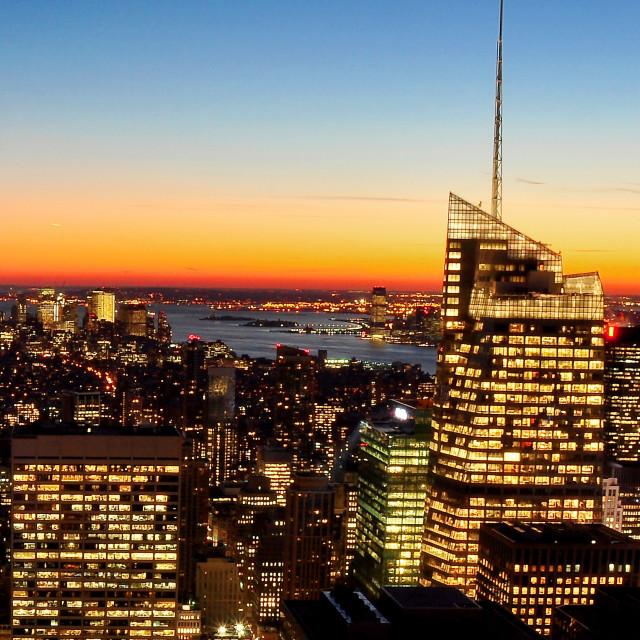 """Sunset over Manhattan"" stock image"