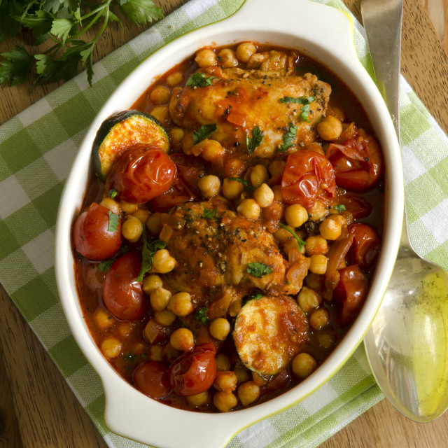 """""""One-pot Moroccan chicken"""" stock image"""