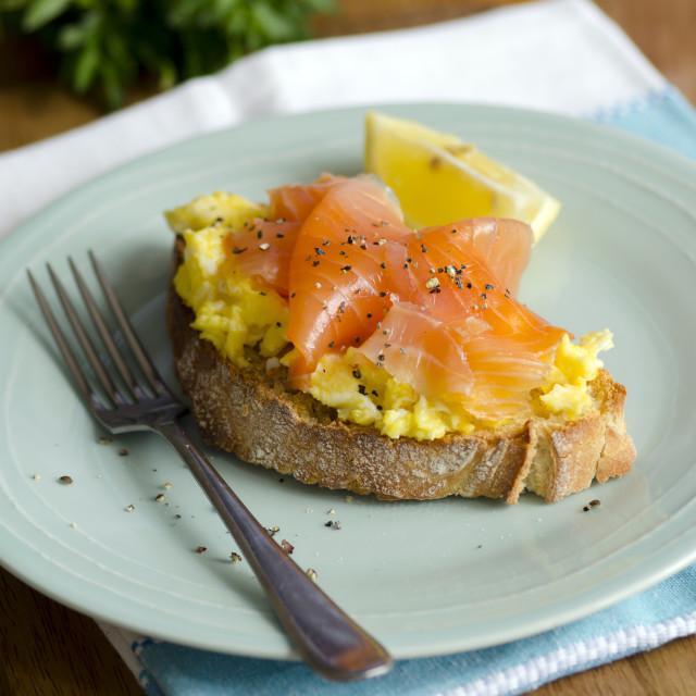 """Smoked salmon and eggs"" stock image"