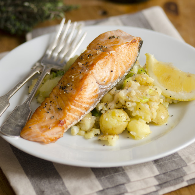 """Griddled salmon"" stock image"