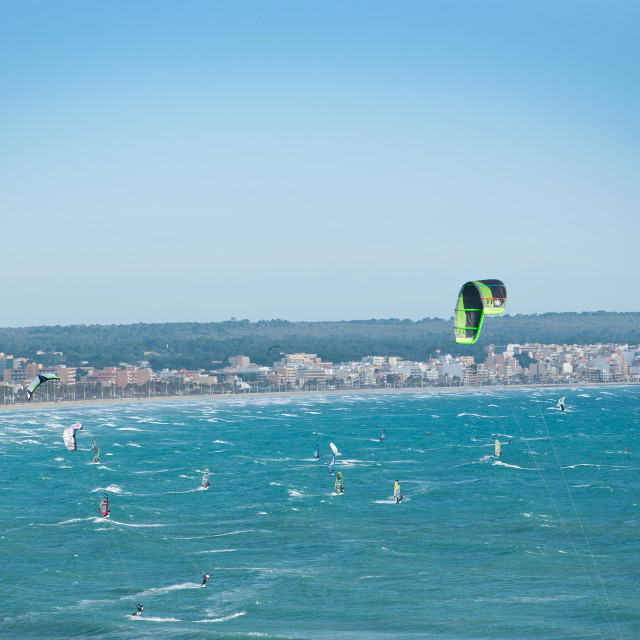 """""""Kite surfers aerial view Can Pastilla"""" stock image"""