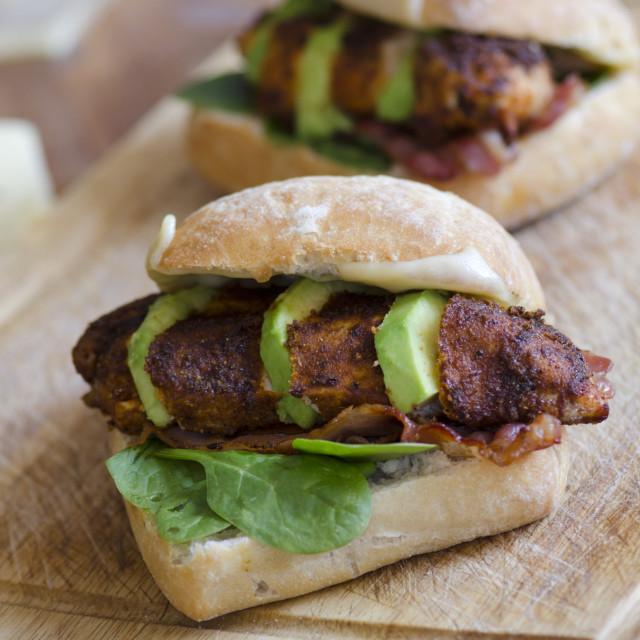 """Chicken burgers"" stock image"
