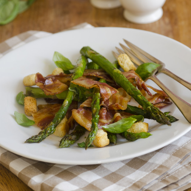 """Pancetta with asparagus"" stock image"