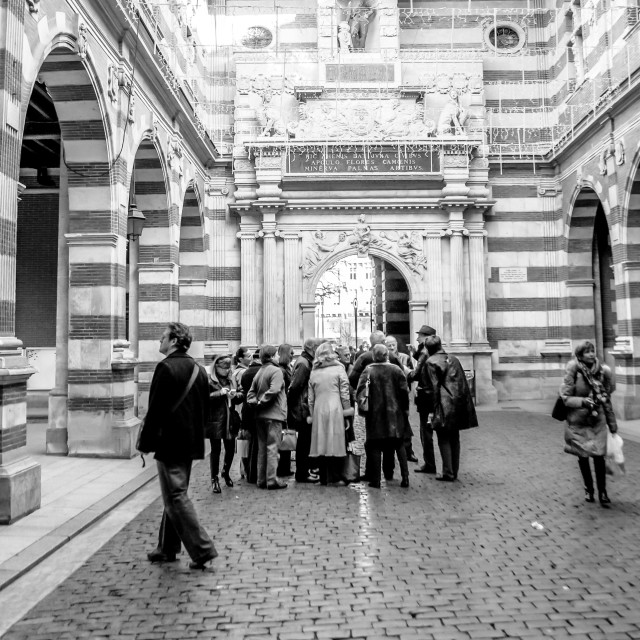 """Tour Group Capitole Toulouse B&W"" stock image"