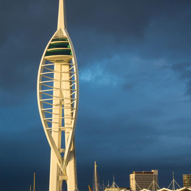 """Sunlit Emirates Spinnaker Tower"" stock image"