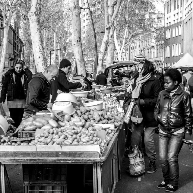 """Potato Seller in Toulouse, France B&W"" stock image"