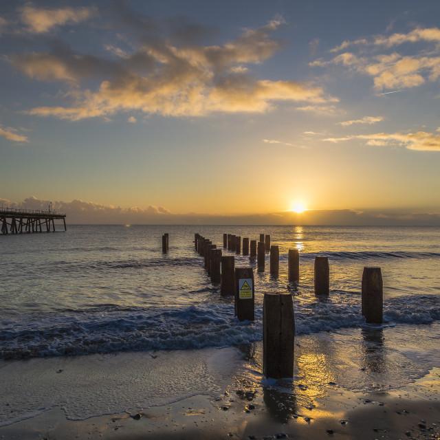 """Winter Sunrise over Pier"" stock image"