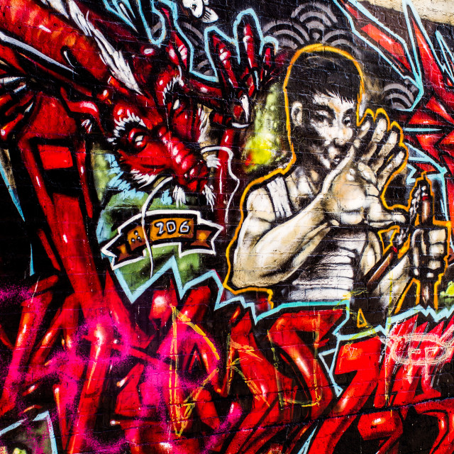 """Graffiti - Bruce Lee"" stock image"