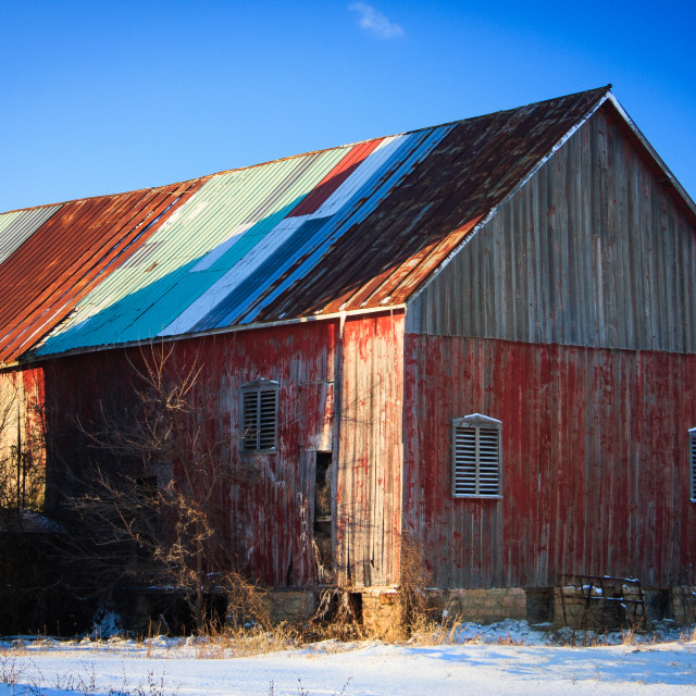 """""""Colorful Barn in Winter #1"""" stock image"""