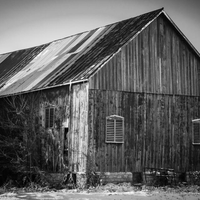 """Barn in B&W"" stock image"