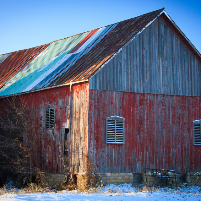 """""""Colorful Barn in Winter #2"""" stock image"""