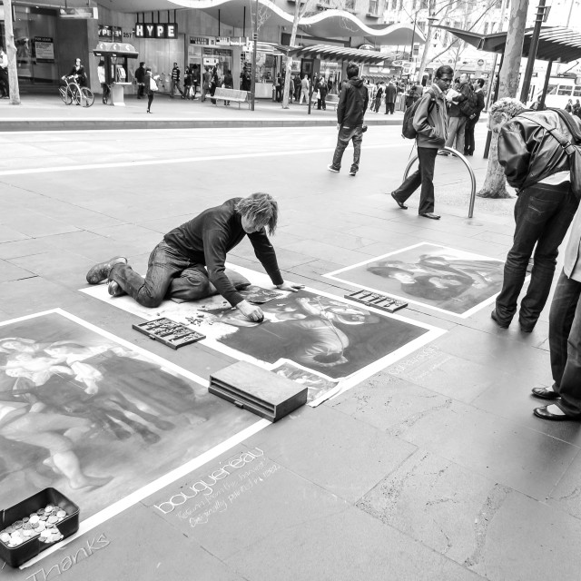 """Sidewalk Artist in Melbourne"" stock image"