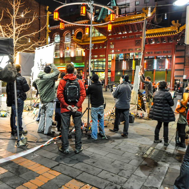 """Film Crew At Night in Chinatown, Melbourne"" stock image"