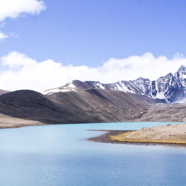 """The Gurudongmar Lake at North Sikkim"" stock image"