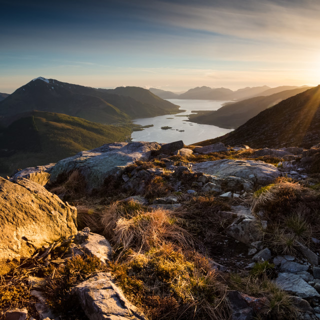 """Sunset from the Pap of Glencoe"" stock image"