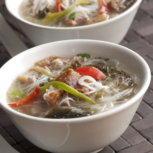 """Meat and noodle soup"" stock image"