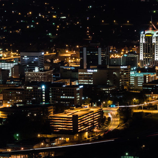 """Roanoke, Virignia at night"" stock image"