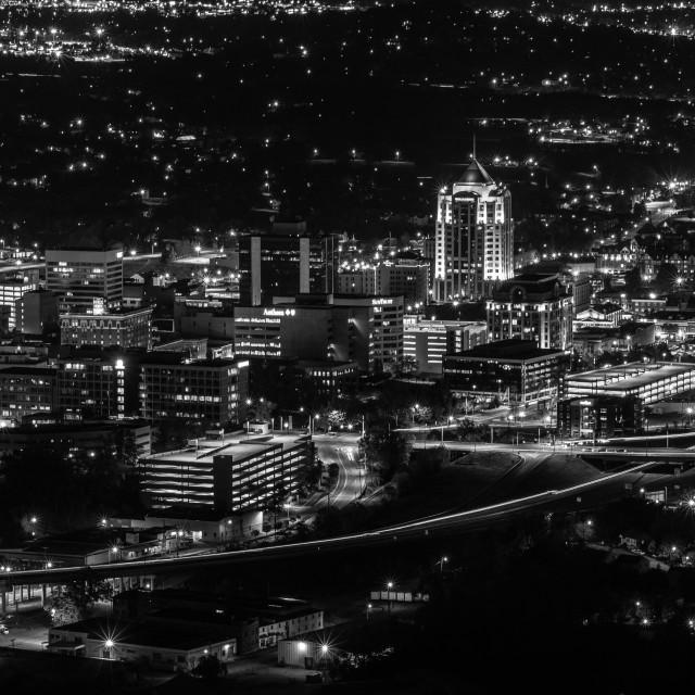 """""""Roanoke, VA Skyline - B&W"""" stock image"""