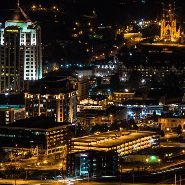 """Roanoke, Virignia at night #2"" stock image"