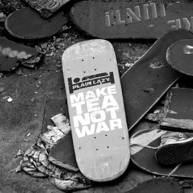 """Make Tea Not War"" stock image"