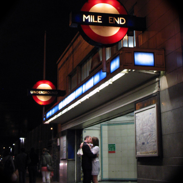 """Romance at Mile End tube station"" stock image"