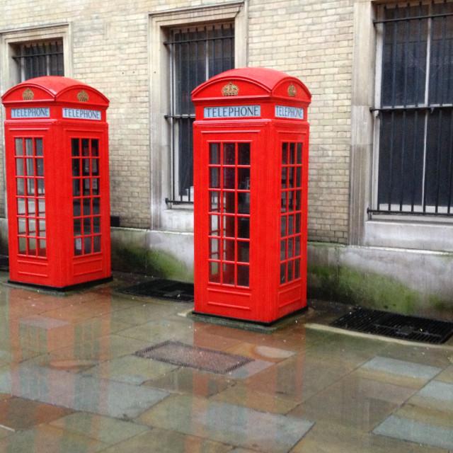 """London phone boxes"" stock image"