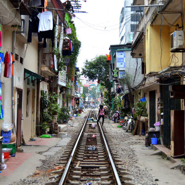 """Hanoi Train Tracks"" stock image"
