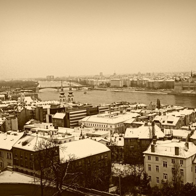 """Budapest in snow"" stock image"