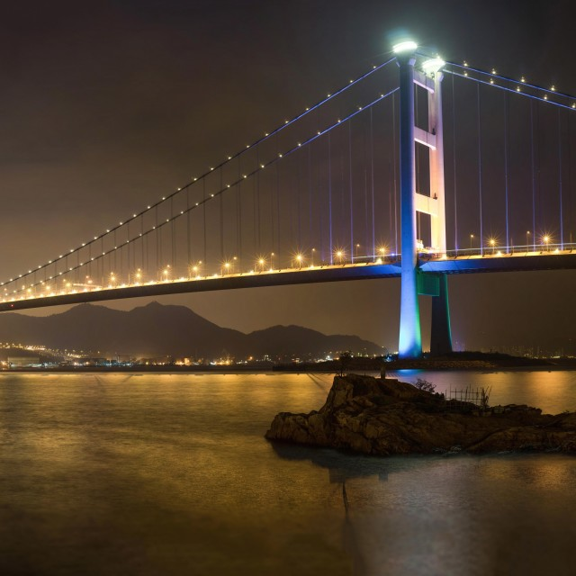 """Tsing Ma Bridge - Ma Wan"" stock image"