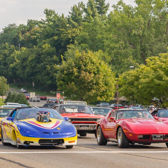 """""""Corvettes, Camaro, GTO"""" stock image"""