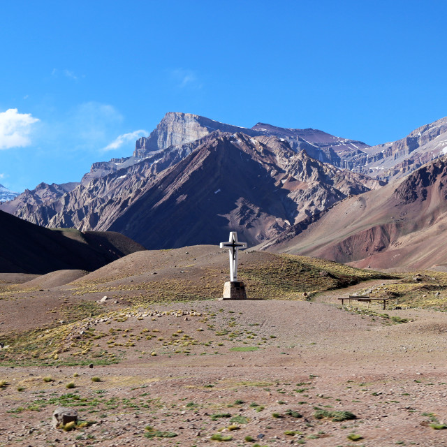 """Cross in the middle of the Andes"" stock image"