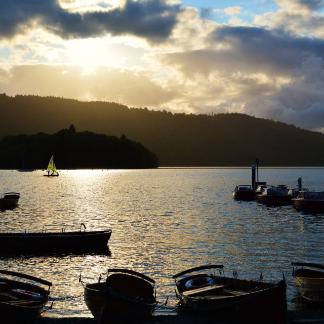 """""""An evening on Lake Windermere."""" stock image"""